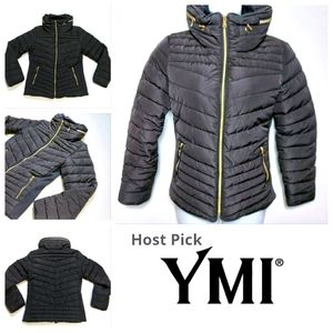 YMI Womans Puffer Coat Size Large With Hidden Hood